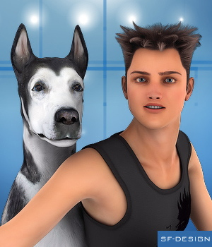 Teen Jayden 6 and Millennium Dog Poses 3D Figure Assets SF-Design