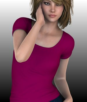 SimpliciTee for Genesis 2 Females 3D Figure Assets WildDesigns
