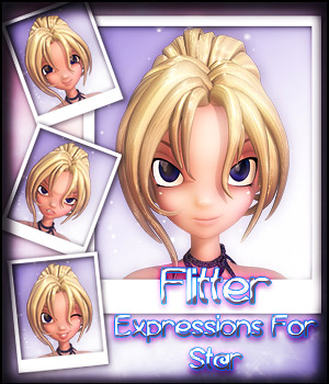 Flitter Expressions For Star 3D Figure Assets -dragonfly3d-