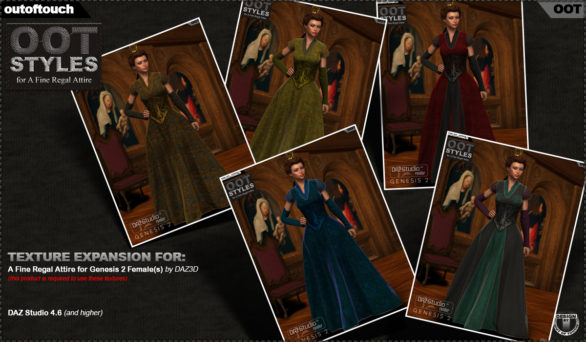 ROYAL STYLES for A Fine Regal Attire for Genesis 2 Female(s)