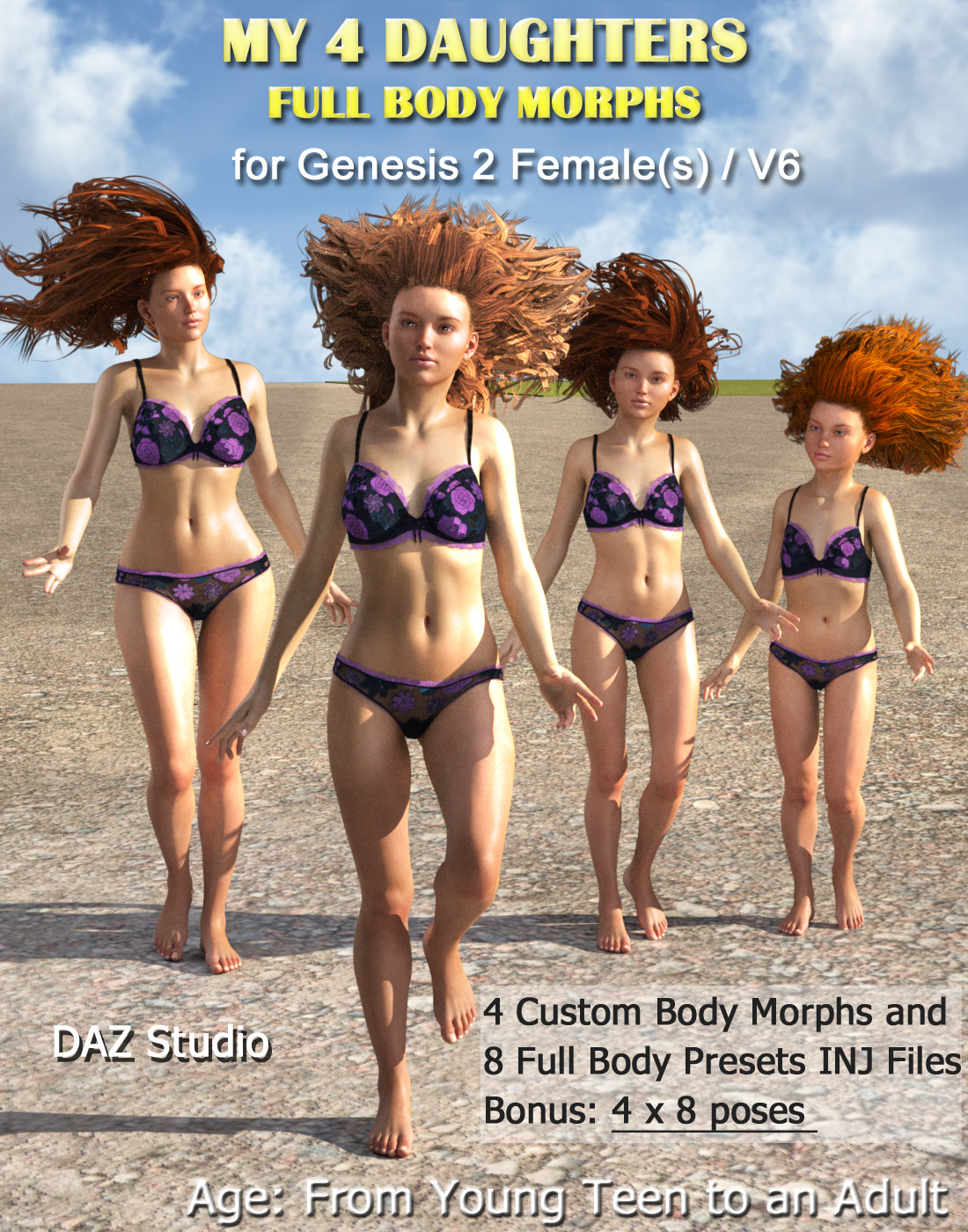MY 4 DAUGHTERS - Full Body Morphs for G2F/ V6 by Mar3D
