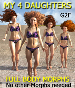 MY 4 DAUGHTERS - Full Body Morphs for G2F/ V6 3D Figure Assets Mar3D