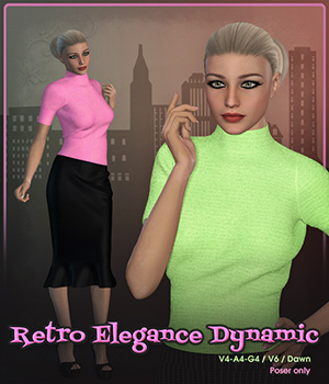 Retro Elegance Dynamic 3D Figure Assets Frequency