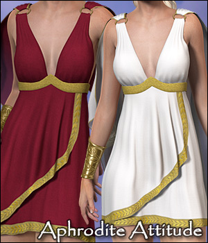 Aphrodite Attitude Dress for Gen2 3D Figure Assets 3D Models RPublishing