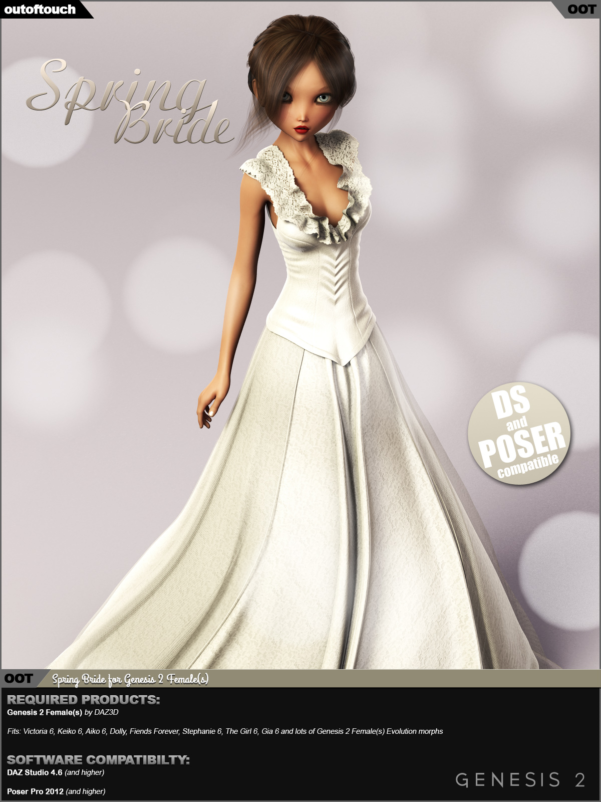 Spring Bride Gown for Genesis 2 Female(s) by outoftouch