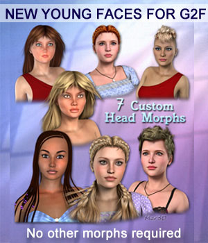 New Young Faces for G2F & V6  Custom Head Morphs 3D Figure Essentials Mar3D