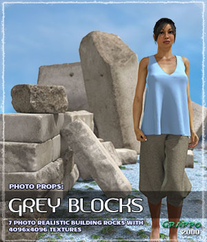 Photo Props: Grey Blocks 3D Models ShaaraMuse3D