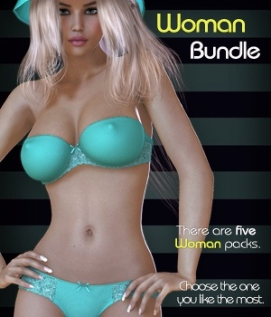 Woman Bundle - Strapless Bra Set 3D Figure Assets nirvy