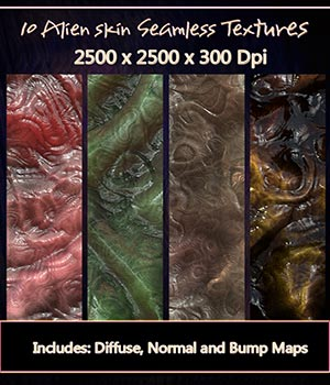 10 Seamless Alien Textures with Diffuse, Normal and Bump Maps. 2D Graphics Merchant Resources nelmi