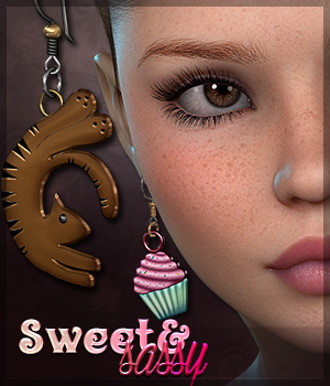 SV's Sweet & Sassy Earrings 3D Figure Assets Sveva