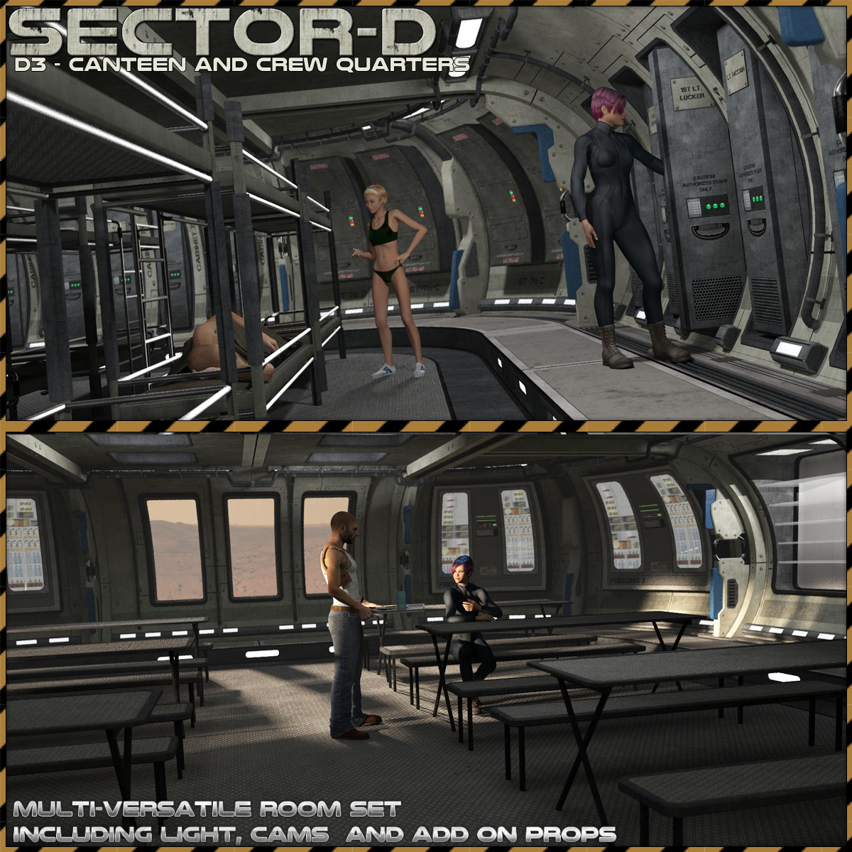 Ship Elements D3: Canteen and Staff Quarters by 3-d-c