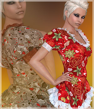 Flirt For Alice Dress 3D Figure Assets Belladzines