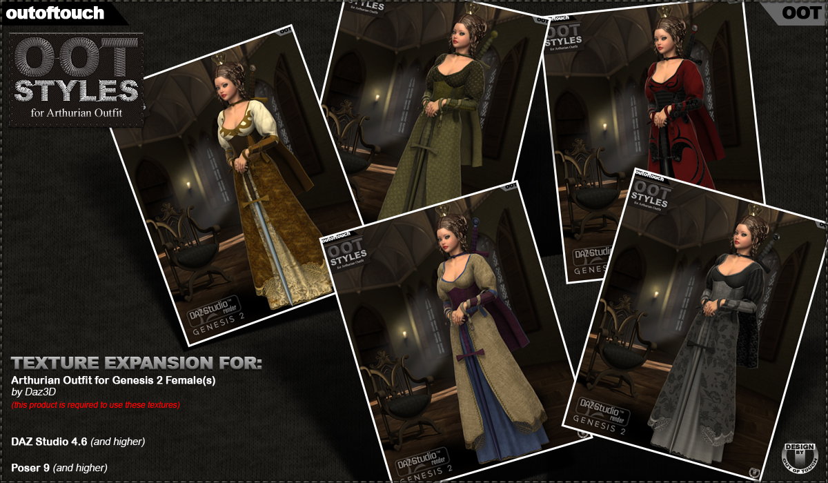 ROYAL STYLES for Arthurian Outfit for Genesis 2 Female(s)