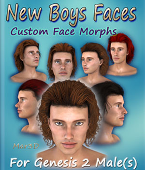New Boys Faces for G2M  Custom Head Morphs 3D Figure Assets Mar3D