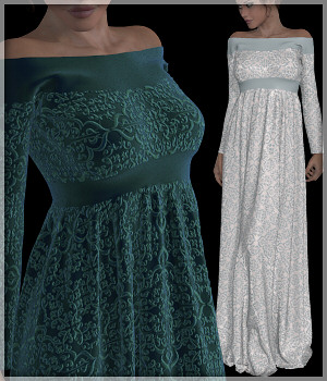 Dynamics 05 - Woodville Dress for Victoria 4 3D Figure Assets Lully