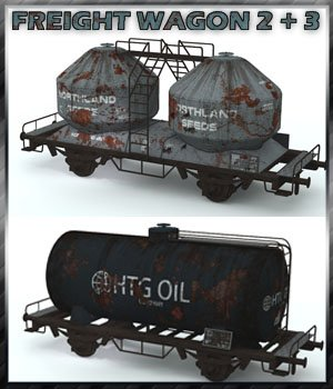 Freight Wagon 2 and 3 3D Models 3-d-c