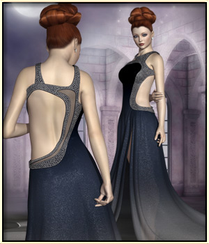 Faxhion - Glamorous Evening Gown 3D Figure Assets vyktohria