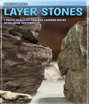Photo Props: Layer Stones 3D Models ShaaraMuse3D