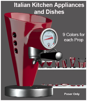 Modern Italian Kitchen Appliances and Dishes 3D Models ICRDesign