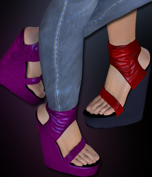 S1M Scarlet: Footwear - Ankle Cuff Platform Wedge 3D Figure Essentials sixus1