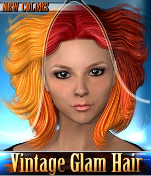 Vintage Glam Hair - NEW COLORS 3D Figure Assets 3Dream