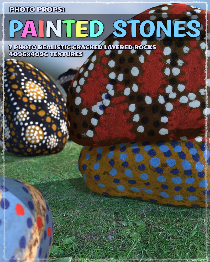 Photo Props: Painted Stones by ShaaraMuse3D
