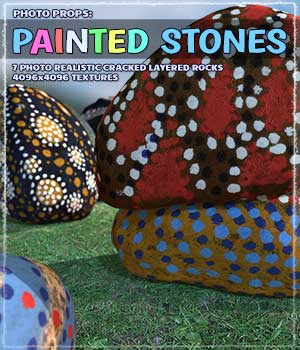 Photo Props: Painted Stones 3D Models ShaaraMuse3D
