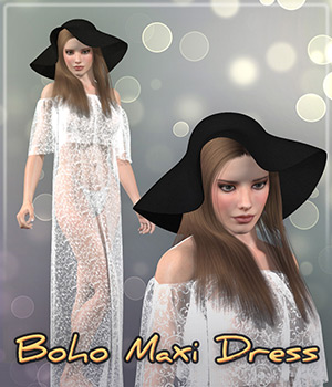 Dynamic Boho Maxi Dress & Hat 3D Figure Assets Frequency