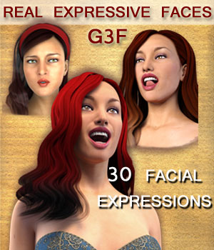REAL EXPRESSIVE FACES for G3F - facial expressions 3D Figure Assets Mar3D