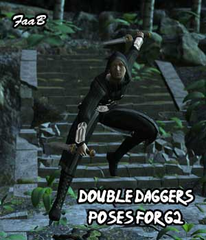 Double Daggers Poses for G2 3D Figure Assets TheCava