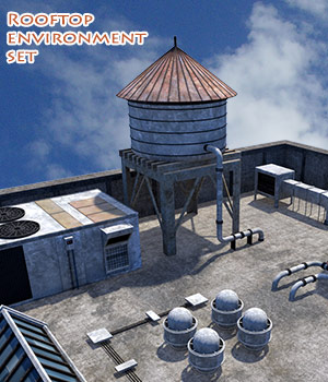 Rooftop environment set 3D Models 1971s