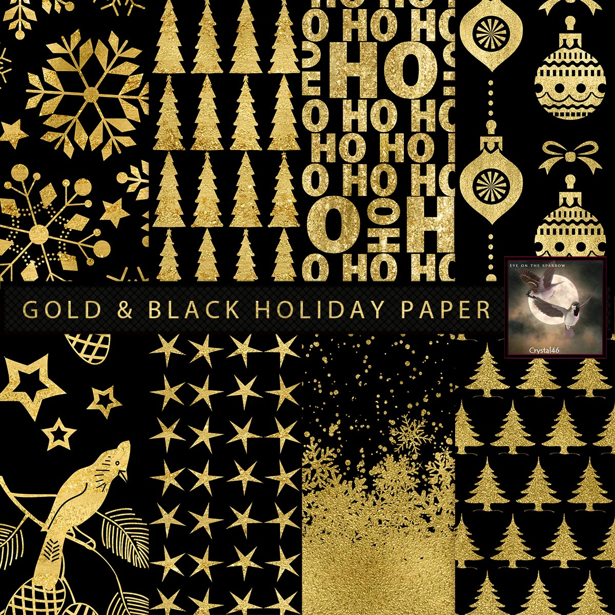 Black Gold Holiday Paper 2D Graphics Crystal46