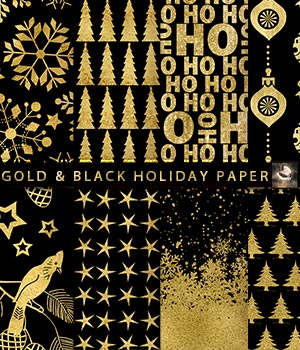 Black & Gold Holiday Paper 2D Graphics Crystal46