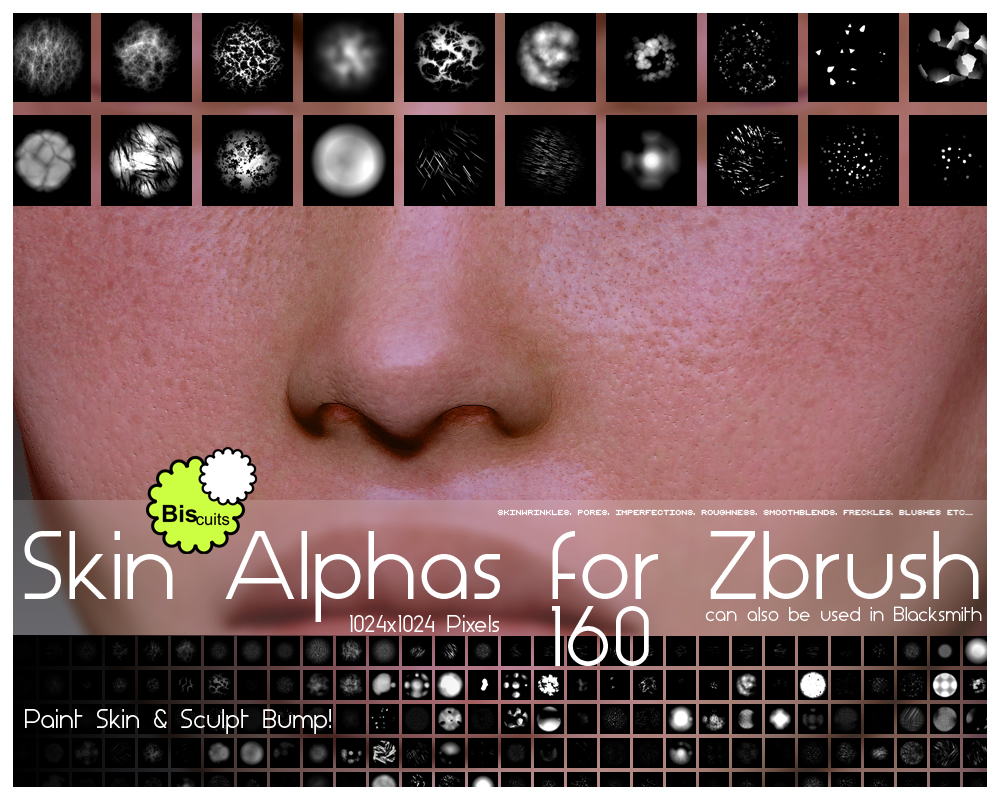 Biscuits Skin Alphas for Zbrush by Biscuits