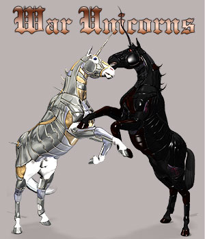 War Unicorns for Mil Horse 3D Figure Assets 3D Models Simon-3D