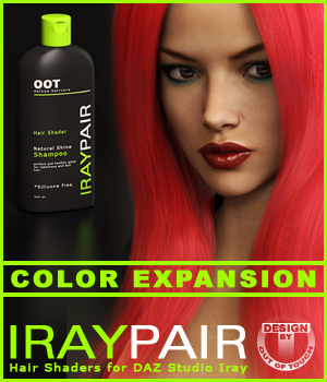 OOT IrayPair Hair Shader XPansion for DAZ Studio Iray 3D Figure Essentials outoftouch