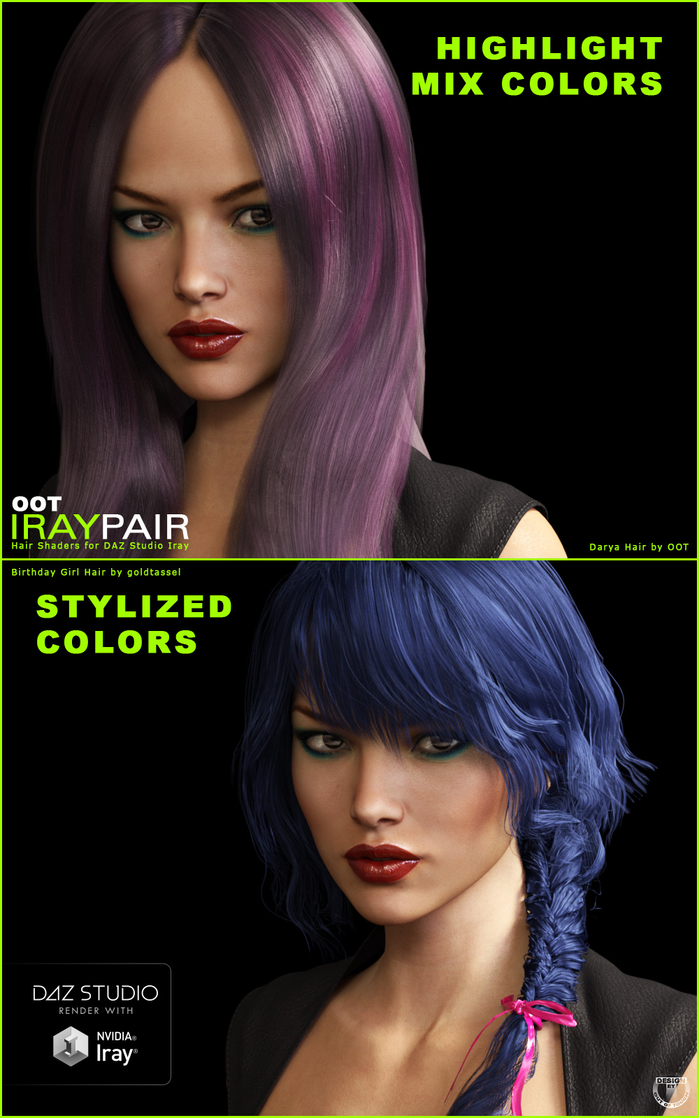 Oot Iraypair Hair Shader Xpansion For Daz Studio Iray 3d Figure