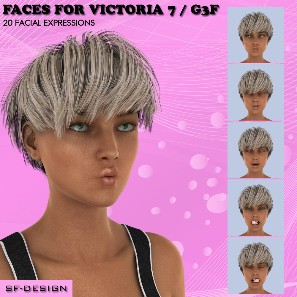 Faces for Victoria 7 / Genesis 3 Female by SF-Design