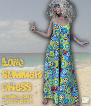 Long Summer Dress for V4 3D Models 3D Figure Essentials Software Tipol