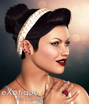 eXotique 1940's Updo Hair 3D Figure Assets Anagord