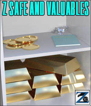 Z Safe and Valuables - Poser & Daz 3D Models Zeddicuss