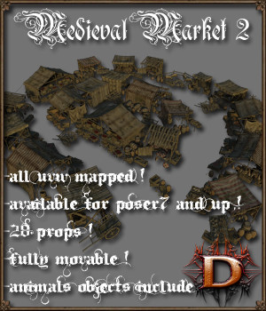 Medieval_Market_2 - Extended License 3D Models Gaming Dante78
