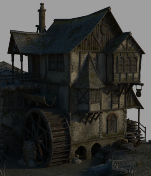 Medieval Watermill - Extended License 3D Models Extended Licenses Dante78