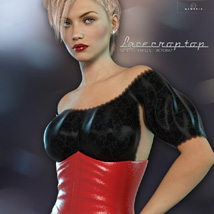 Lace Crop Top for Genesis 3 Females image 2