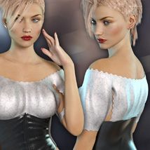 Lace Crop Top for Genesis 3 Females image 4