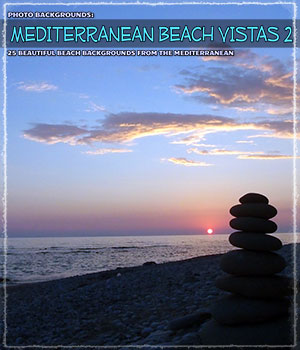 Photo Backgrounds: Mediterranean Beach Vistas 2 2D Graphics ShaaraMuse3D