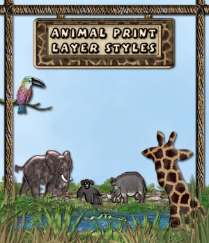 Animal Print Layer Styles w/Free Gift 2D Merchant Resources fractalartist01