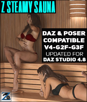 Z Steamy Sauna + Poses - Daz and Poser 3D Figure Essentials 3D Models Zeddicuss