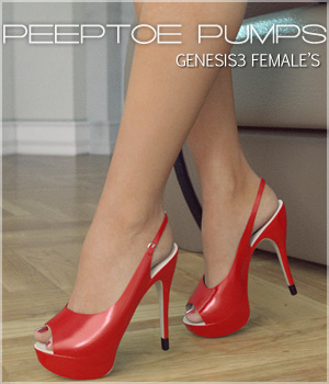 Peeptoe Pumps for Genesis 3 Females 3D Figure Assets lilflame