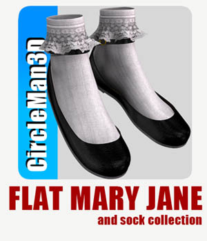 Flat Mary Jane and socks collection 3D Figure Assets circleman